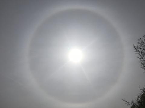 Circular Rainbow around the sun in Davis, CA today!