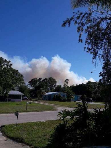 Smoke from fire in Palm City as seen from Jensen Beach