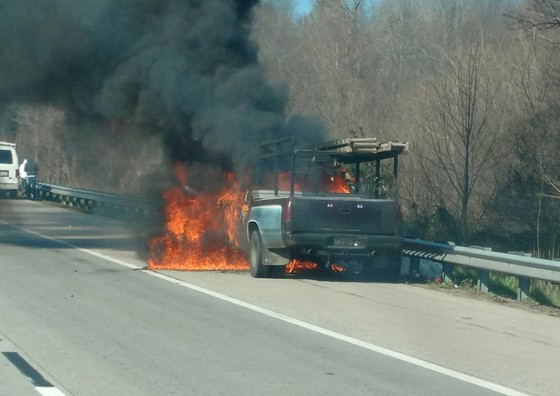 Truck fire on I85 North in Spencer
