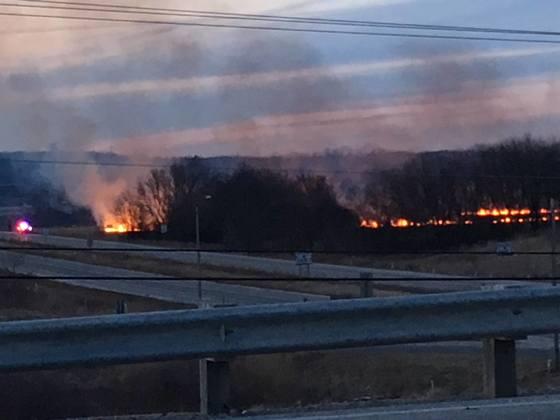 Grass Fire in Burlington, Wisconsin