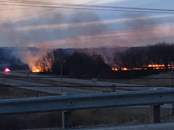 Grass Fire in Burlington Wisconsin on March 23, 2018 at 7:00 p.m.
