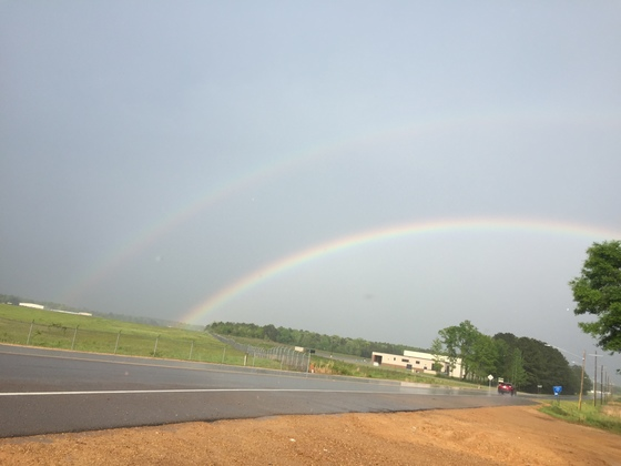 Double rainbow in Brookhaven over the airport