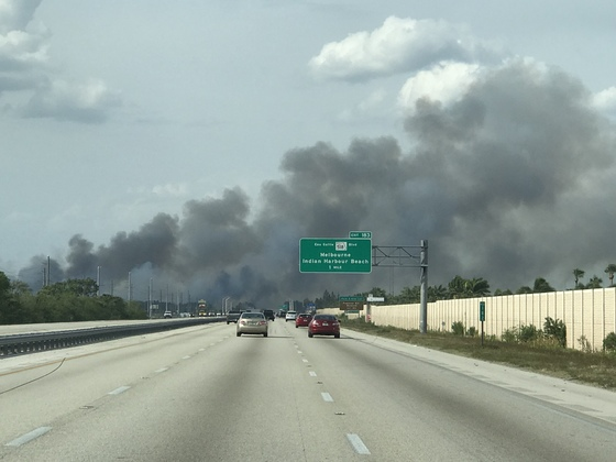 Fire on I95 Brevard county