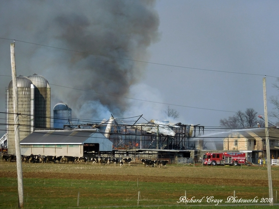 The current ongoing barn fire at Verdant View Farm on Gap Road rt741 in Ronks.