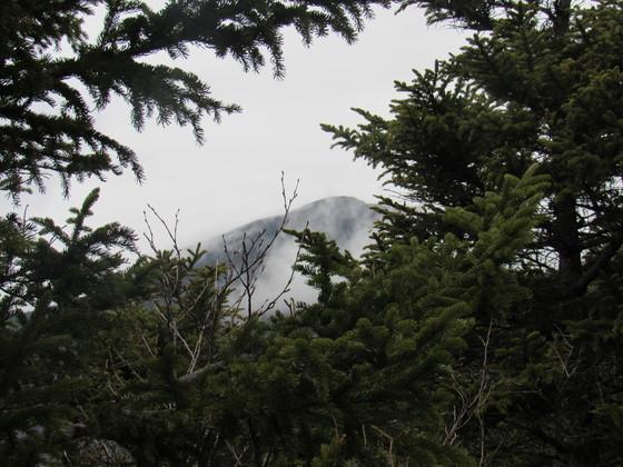 Summit through clouds