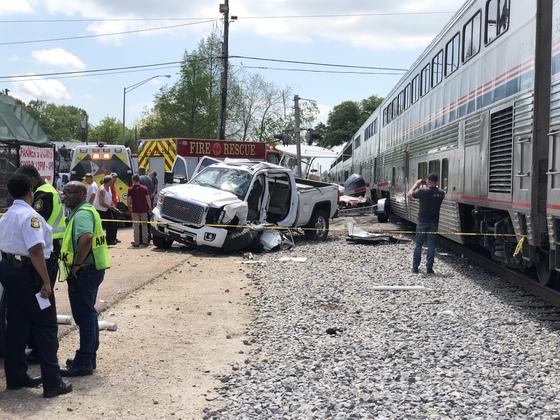 Amtrak train struck a pick up truck