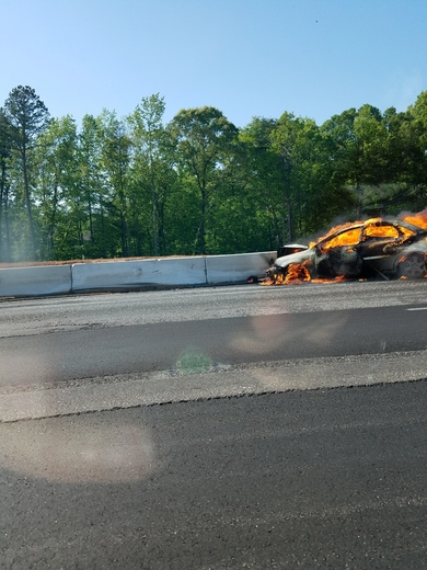Car fire on 85 south right before gateway project - traffic backed up