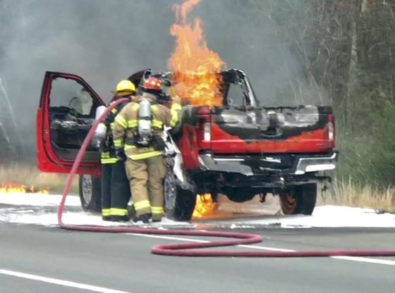 Truck engulfed in flames