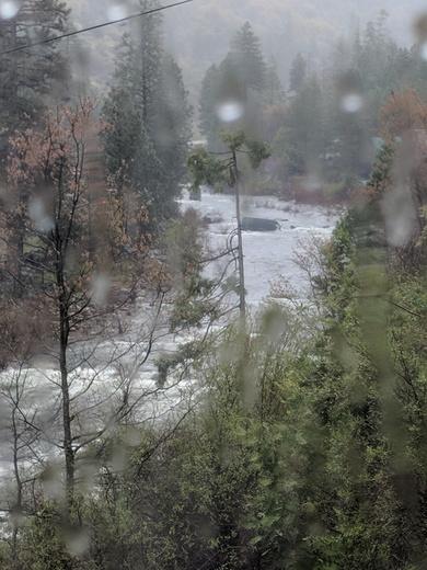 Van runs off hwy 50 into the river.
