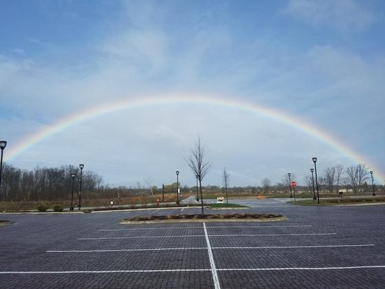 Rainbow over Emerald Preserve Park in Oak Creeks' Drexel Town Square