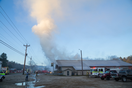 Fire this morning in Lowell, Vermont