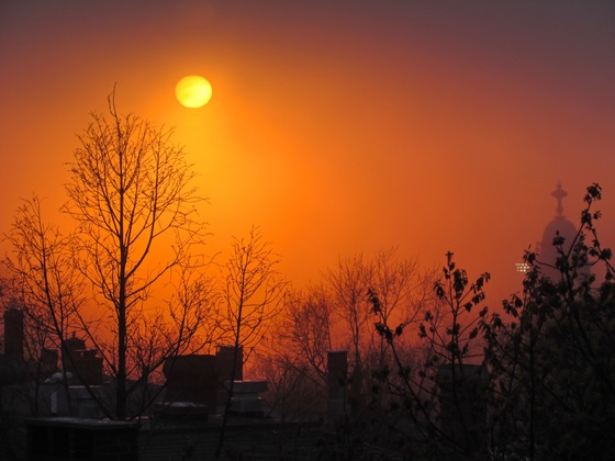 Tonight's Foggy Sunset in Portland