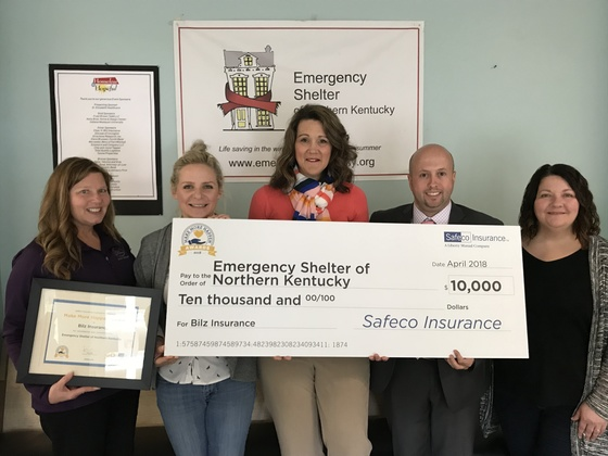 Emergency Shelter of Northern Kentucky Awarded $10,000 from Bilz Insurance