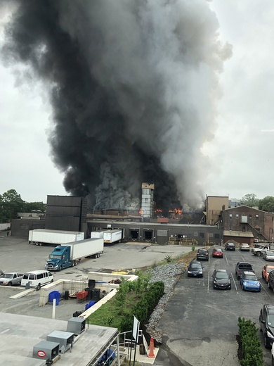 Pictures of fire at Donsco Foundry, Wrightsville