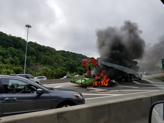 Vehicle on fire on banksville rd exit