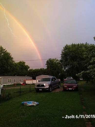 Double Rainbow & A Lightning Strike!