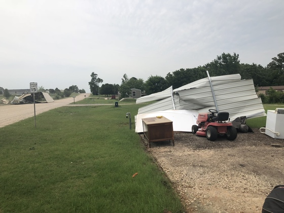 Wind damage from today's storms.