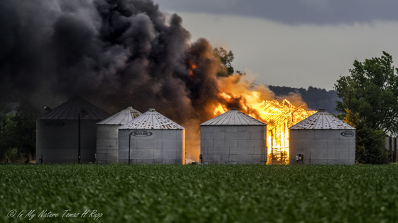 Barn fire, just south of Missouri Valley Ia. right after the storms passed throu