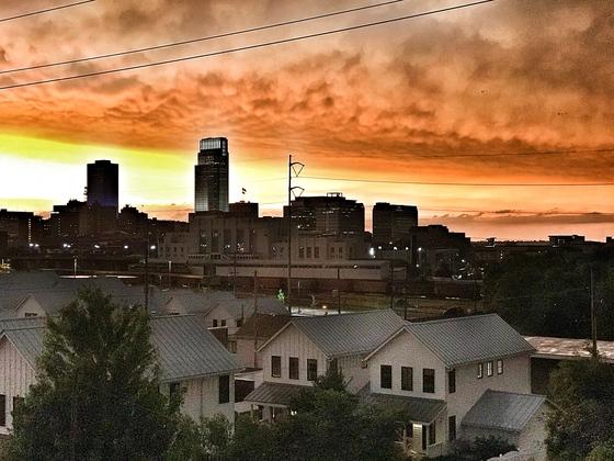 Orange sky from storms last night