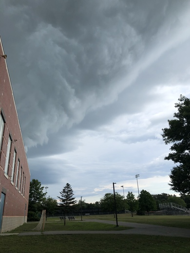 This evening's (Friday) storm rolling in over Brunswick HS.