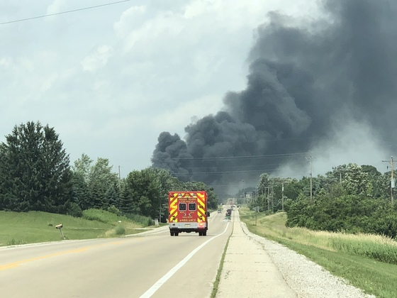 My wife and I were driving home to Racine when we saw the smoke