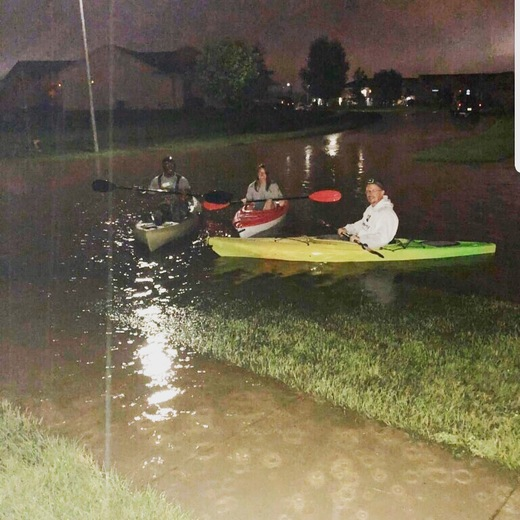 We went kayaking around our neighborhood in Ankeny last night after the rain stopped.