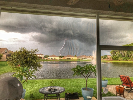 Early Sunday evening thunderstorm approaching the Sawgrass community