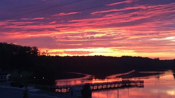 Sunrise above the Marina at Salem Lake 7/2/18