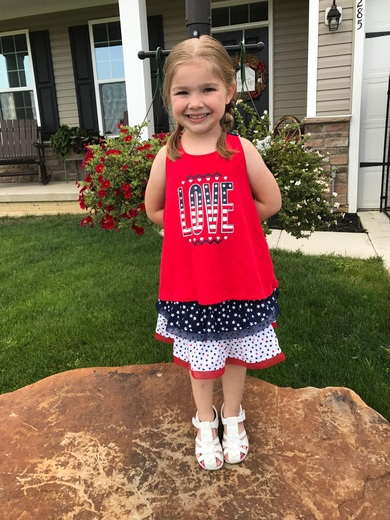 Aubrey decked out for the fireworks