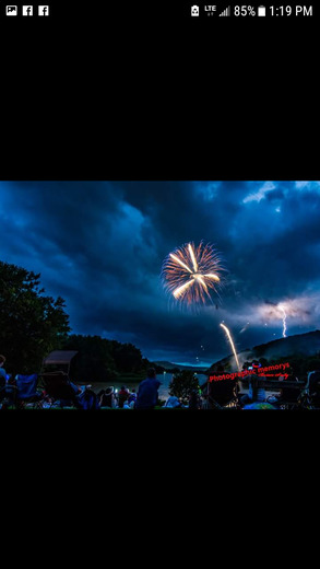 Amazing picture captured this lightning bolt in the middle of the Fireworks in Franklin Pa