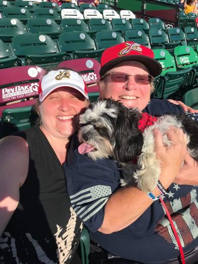 Kim, Melinda, and Kappy enjoy the Barnstormer's game. 7/7/18