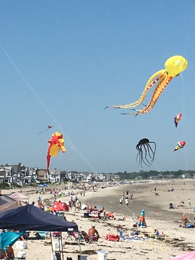 Kites flying high over Wells Beach.
