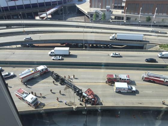 Truck overturned.