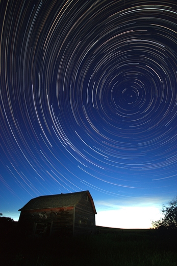 Star trails on the prairies