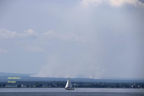 Smoke from Altona NY wildfire as seen from Alburgh VT
