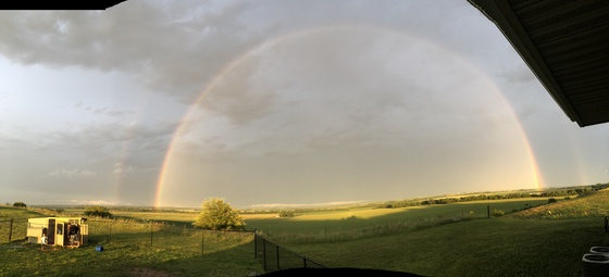 Beautiful double rainbow in Sidney Iowa!