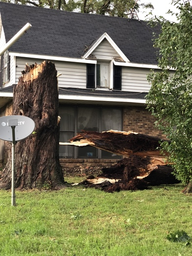 This is our friends home in Pella..damage from the storm today!