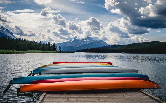 Canoes in Jasper National Park