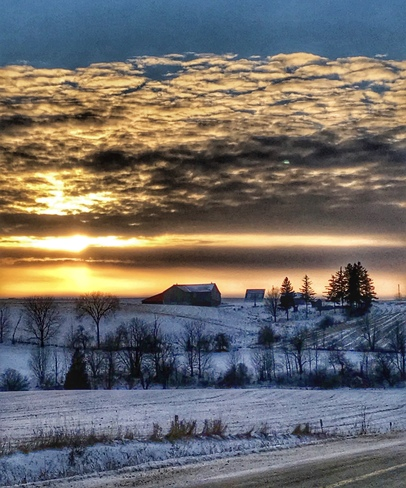 Sunset in rural South Western Ontario Neustadt, ON