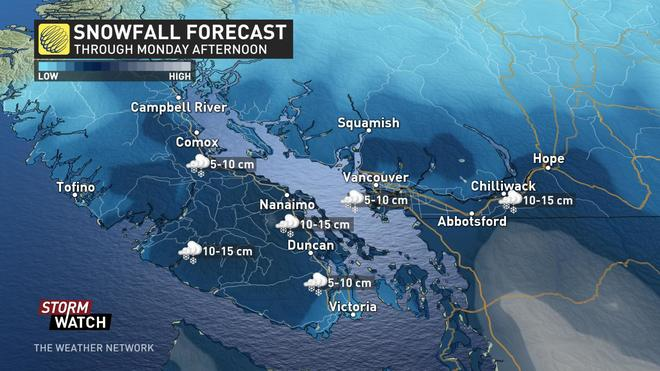 Expect another 2 - 5 centimeters snow overnight for Southern Vancouver Island
