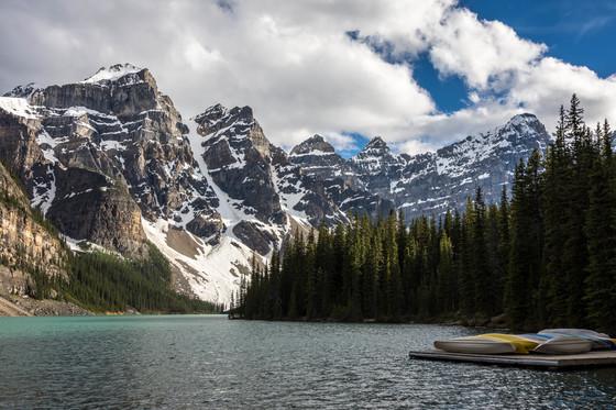 Moraine Lake Waiting Canoes