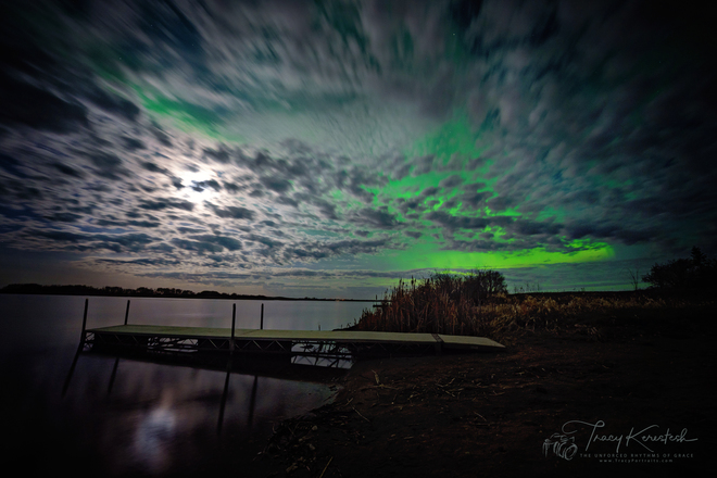 Lady Aurora Dancing over Melville Resevoir Calm Waters Melville, SK
