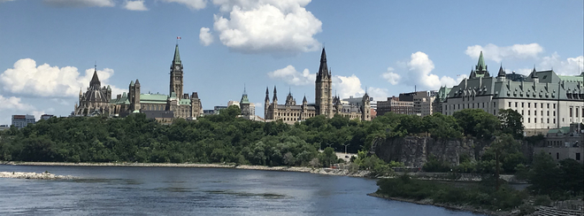 View of Parliament Hill from the Portage Bridge . Gatineau, Quebec, CA