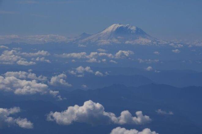 Mount Rainier from the sky Seattle WA