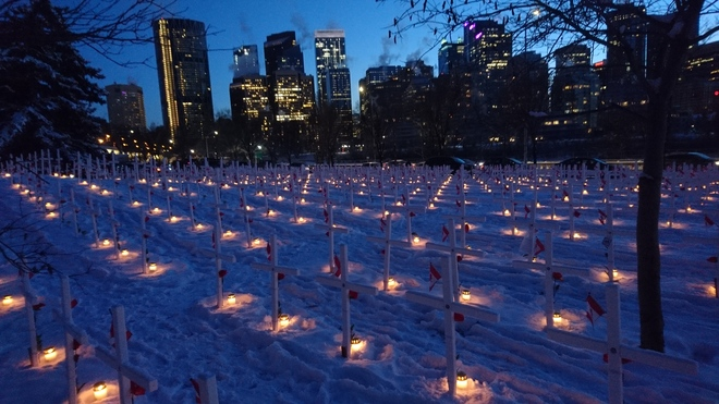 FIELD OF CROSSES. Candle Light Ceramony Nov10 2019, Calgary 200 Memorial Dr NW, Calgary, AB T2N 3C2, Canada