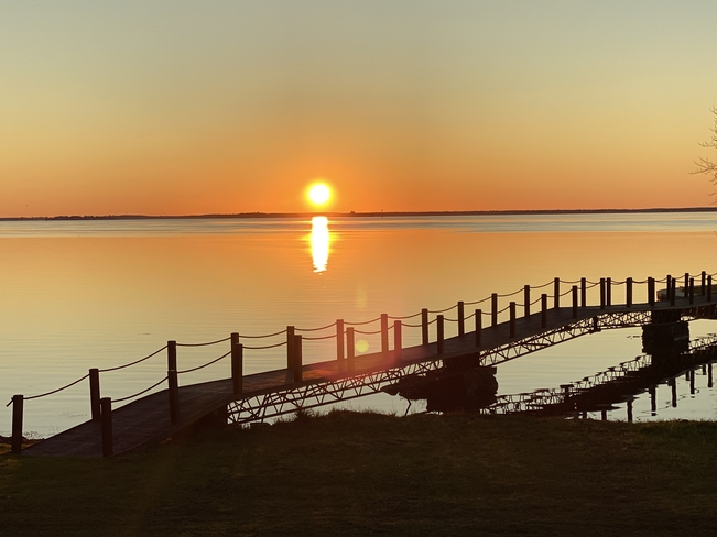 Sunset over Saint Lawrence river Saint-Anicet, Quebec, CA