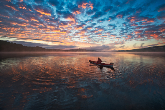 Paddling in the colorful morning