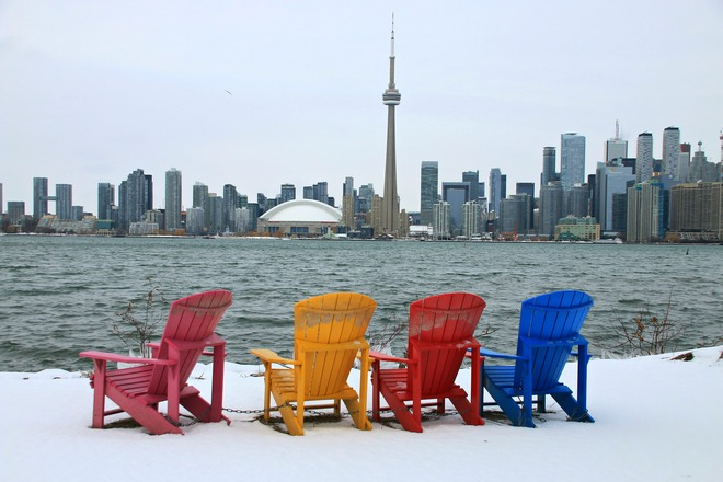 Summer Chairs with Winter Scene. Toronto Islands, Ontario