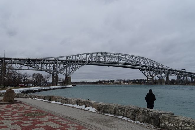 The Blue Water bridge on a cold January day. Point Edward, ON