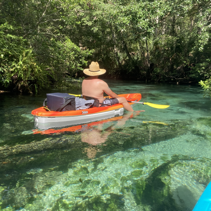 Kayaking on clear water